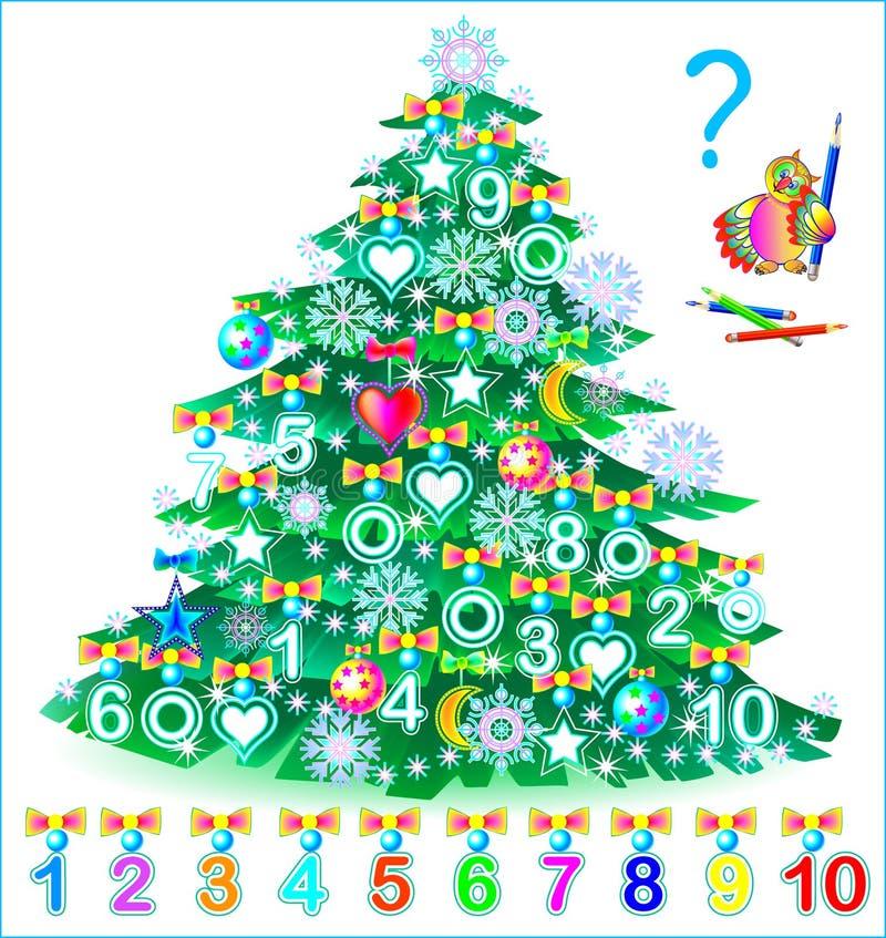 Pädagogische Seite für Kinder Finden Sie die Zahlen versteckt im Weihnachtsbaum und malen Sie sie in den relevanten Farben stock abbildung