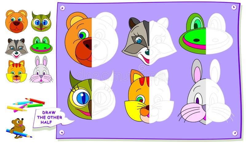 Pädagogische Seite für Kinder Müssen Sie die zweiten Teile von Tieren malen Sich entwickelnde Kinderfähigkeiten für das Zeichnen  vektor abbildung