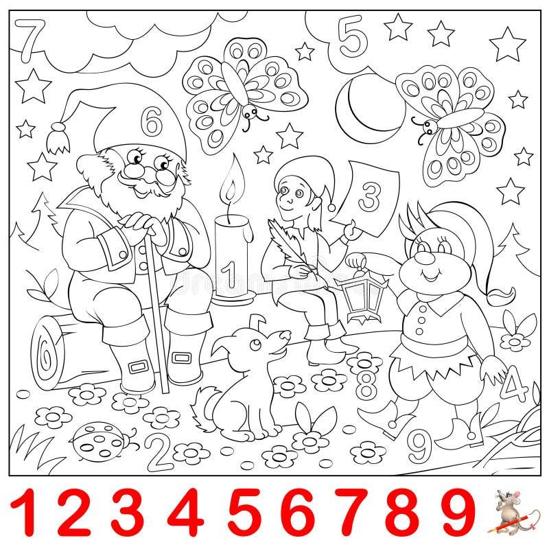 Pädagogische Seite für Kleinkinder Finden Sie die Zahlen versteckt im Bild und malen Sie sie Logikrätselspiel stock abbildung