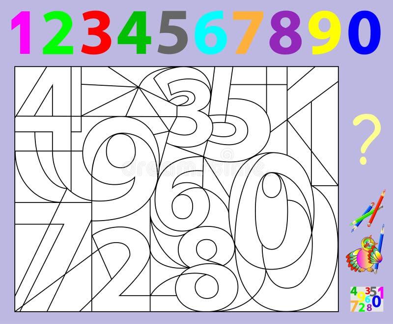 Pädagogische Seite für Kleinkinder Müssen Sie die versteckten Zahlen finden und sie in den relevanten Farben malen Sich entwickel lizenzfreie abbildung