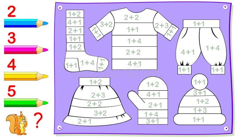 Pädagogische Seite für Kleinkinder mit Übungen auf Zusatz Müssen Sie Beispiele lösen und die Kleidung malen vektor abbildung