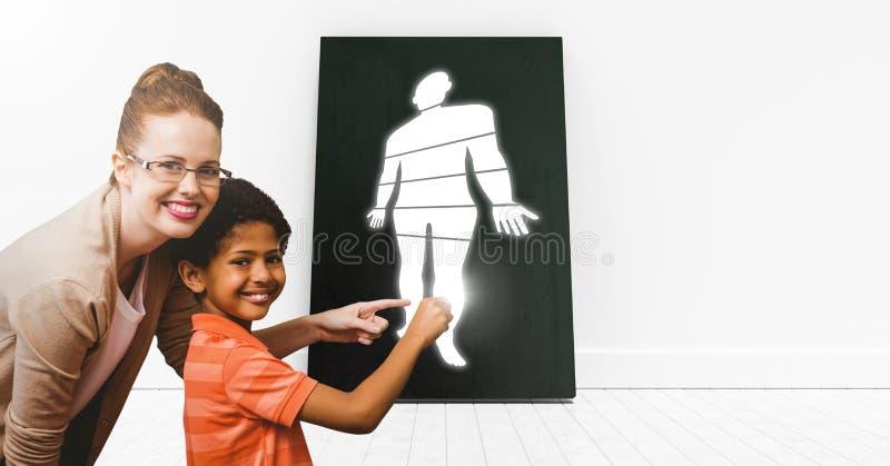 Pädagogischer menschlicher Körper unterteilt Ikone ein Lehrer mit Schüler stockfotografie