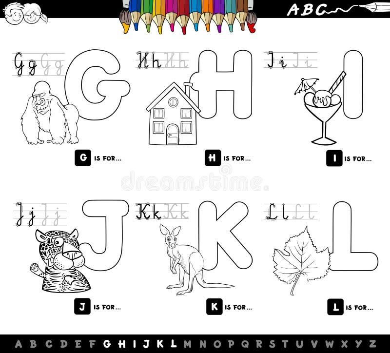 Pädagogisches Karikaturalphabet für Kinderfarbbuch stock abbildung