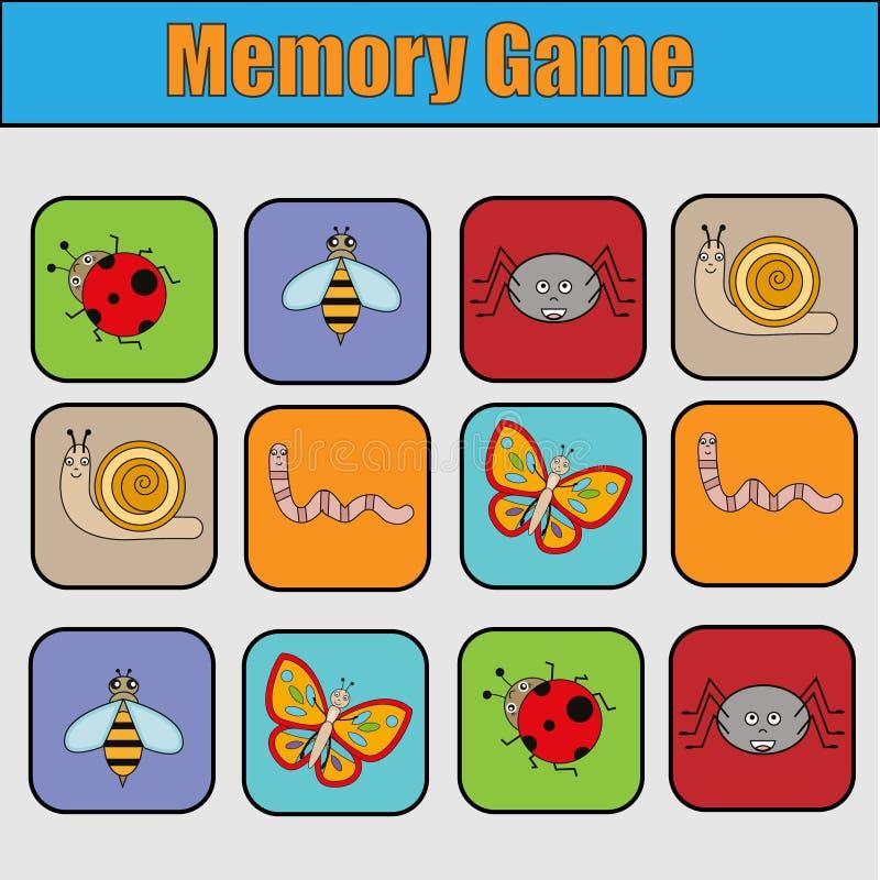 Pädagogisches Kinderspiel, Kindertätigkeit Gedächtnisspiel mit Insekten lizenzfreie abbildung