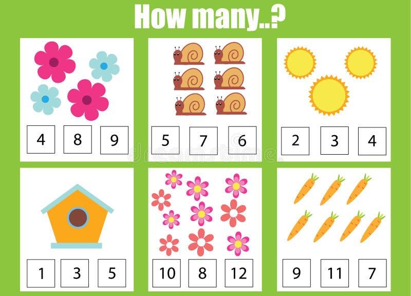Pädagogisches Kinderspiel zählend, scherzt Mathe Tätigkeit Wieviele Gegenstände eine Arbeit zuweisen lizenzfreie abbildung