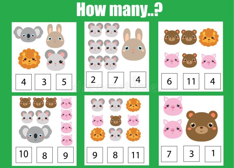 Pädagogisches Kinderspiel zählend, scherzt Mathe Tätigkeit Wieviele Gegenstände eine Arbeit zuweisen Tierthema stock abbildung