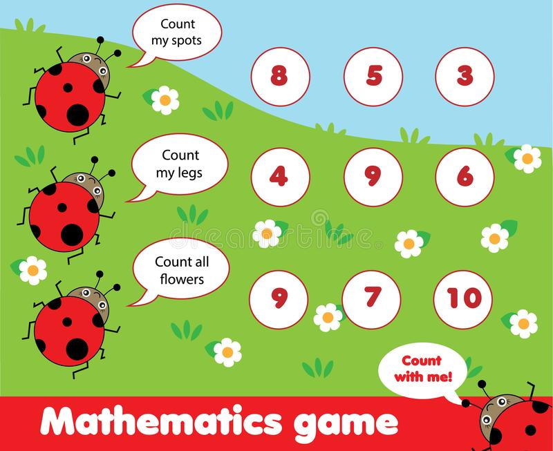 Pädagogisches Kinderspiel Zählung des Spiels Mathe scherzt Tätigkeit Wieviele Gegenstände eine Arbeit zuweisen lizenzfreie abbildung