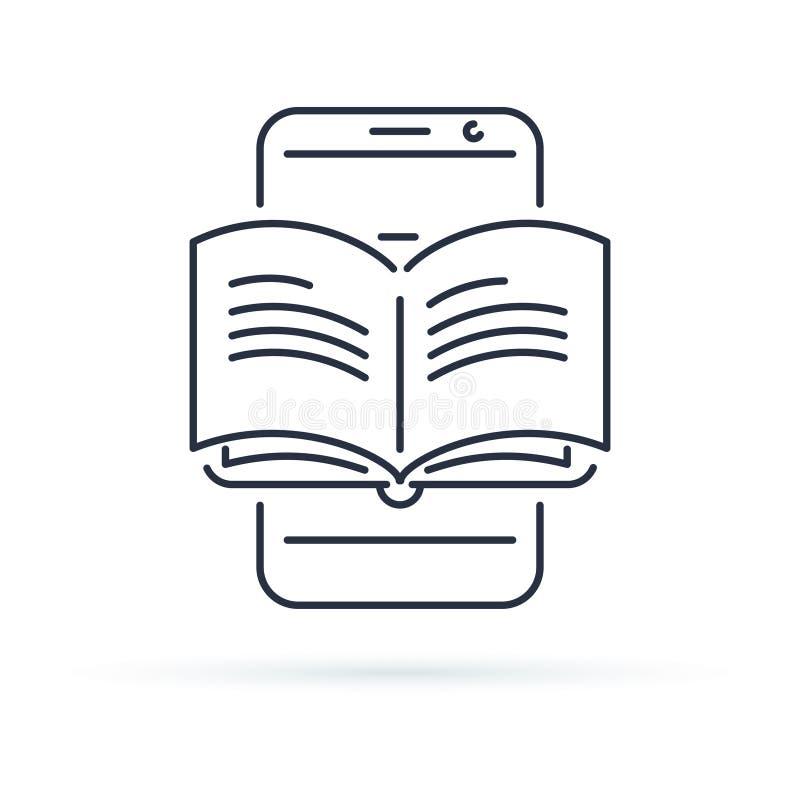 Pädagogisches Mobile-APP-Konzept, der Handfinger, der APP-Smartphoneknopf berührt, öffnete Buch, Linie Ikone stock abbildung