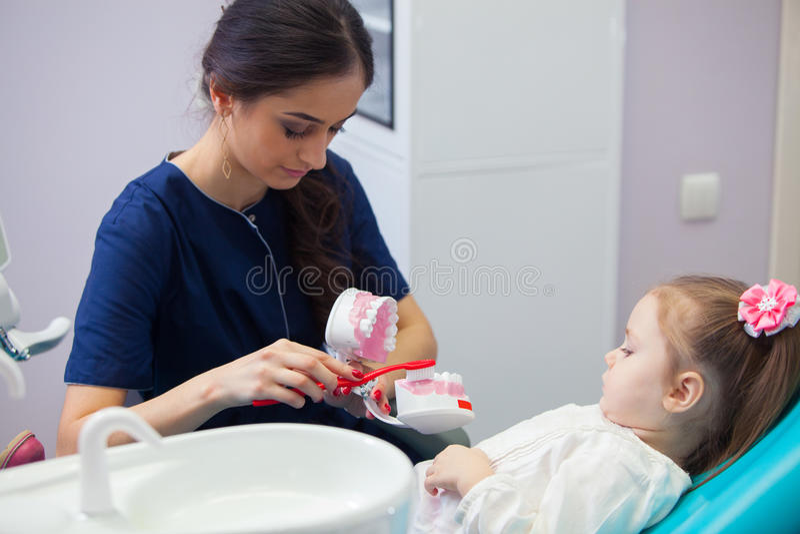 Pädiatrischer Zahnarzt, der ein lächelndes kleines Mädchen über das richtige Zähneputzen, zeigend auf einem Modell erzieht früh lizenzfreies stockbild