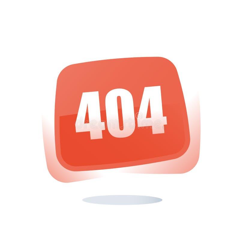 Päfyllningsfel, 404 fel, söker det inte fann begreppet, röd knapp med numret, uppmärksamhetmeddelandet, rengöringsdukbanermall vektor illustrationer