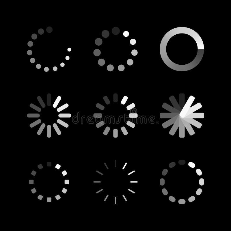 Päfyllningssymbol Laddare eller preloader för cirkelwebsitebuffert Vektornedladdning eller att ladda upp statussymbolsuppsättning royaltyfri illustrationer