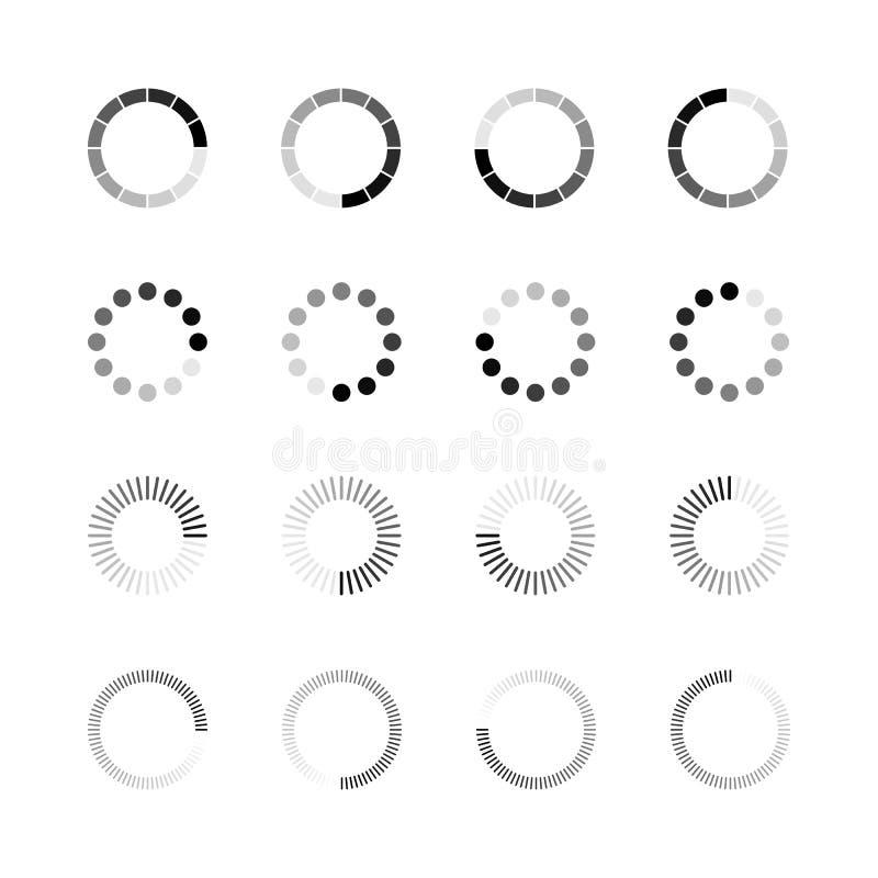 Päfyllningssymbolsuppsättning Den enkla mallen av gradvist laddar upp eller nedladdar indikatorn Vektorillustration som isoleras  stock illustrationer