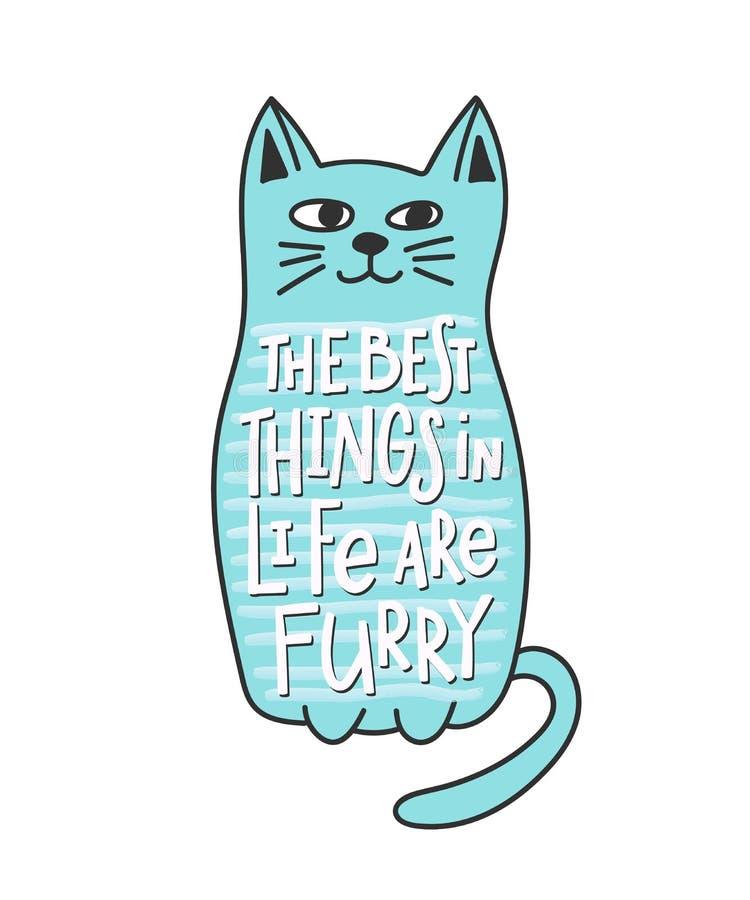 Päls- bästa ting för katt i livcitationsteckenbokstäver stock illustrationer