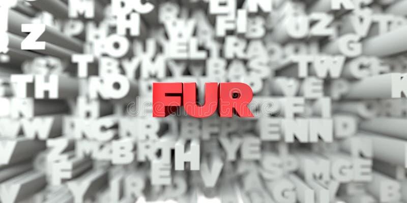 PÄLS - Röd text på typografibakgrund - 3D framförde fri materielbild för royalty stock illustrationer
