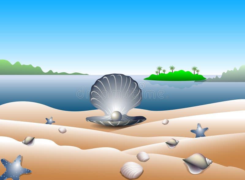 Pärla på tropisk strand   vektor illustrationer