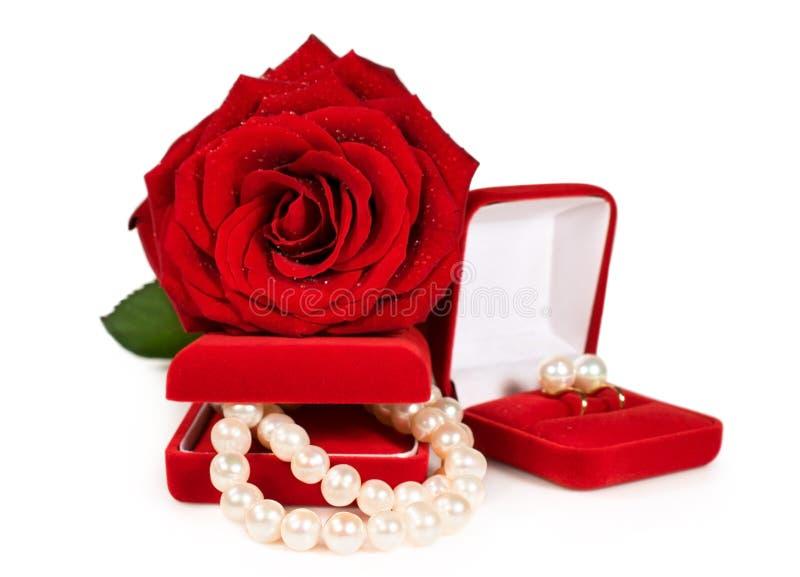 Pärlemorfärg halsband och örhängen i en röd gåvaask med en ros arkivbild