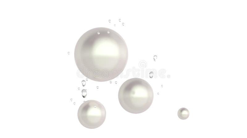 Pärlor under klart vatten, vit bakgrund royaltyfri illustrationer