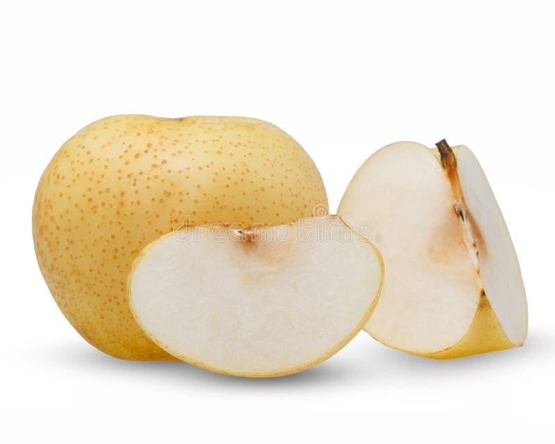 Päron - asiatiska päron som isoleras på vit bakgrund arkivfoton