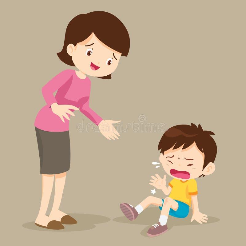 Płacz chłopiec i Jej mama royalty ilustracja