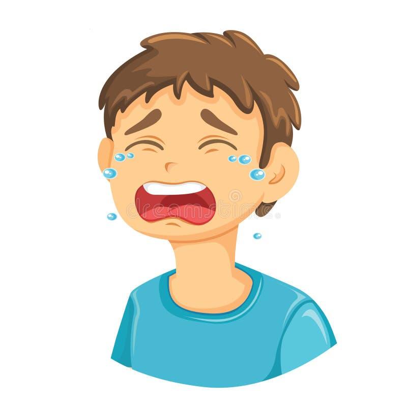 Płacz chłopiec Wektorowa ilustracja Zamknięta W górę ilustracja wektor
