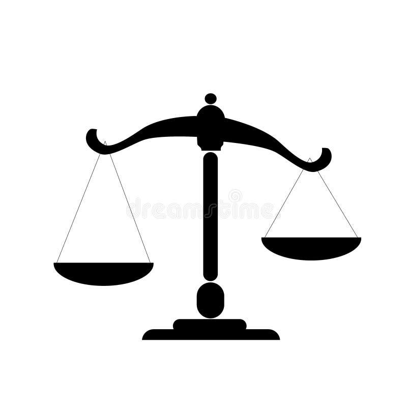 Płaska ikony skala, waży, ciężar, równowaga ilustracji