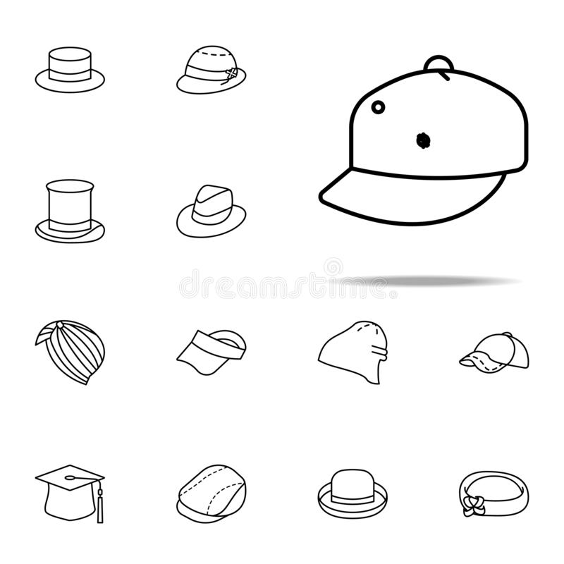 płaska rondo kapeluszu ikona kapelusz ikon ogólnoludzki ustawiający dla sieci i wiszącej ozdoby ilustracji