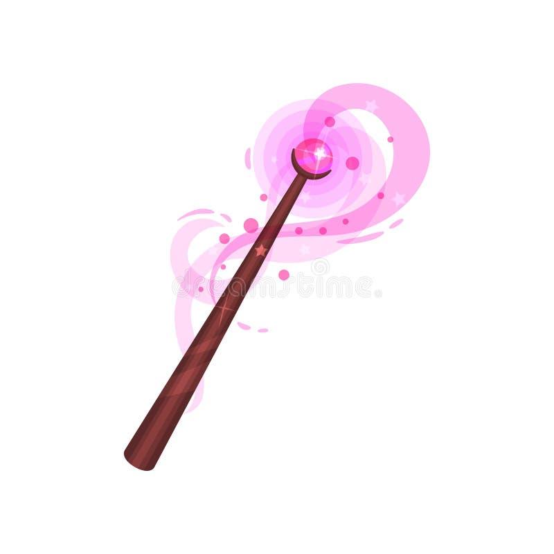 Płaska wektorowa ikona drewniana magiczna różdżka z różowym cennym kamieniem Kij z magiczną łuną Guślarstwo temat royalty ilustracja