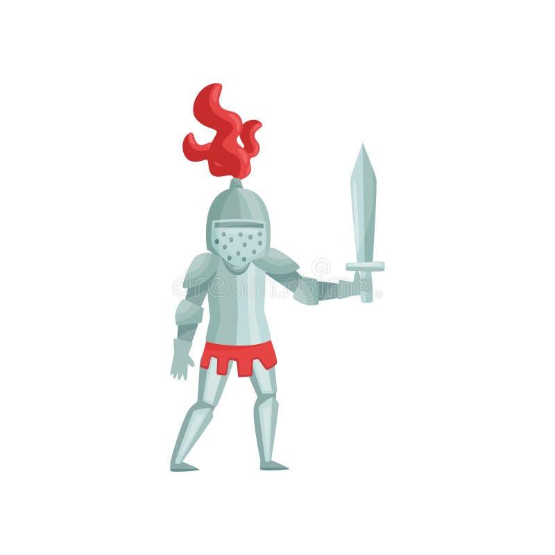 Płaski wektor średniowieczny rycerz z kordzikiem w ręce, przygotowywa walczyć Wojownik w żelaznym opancerzeniu tła postać z kresk ilustracji
