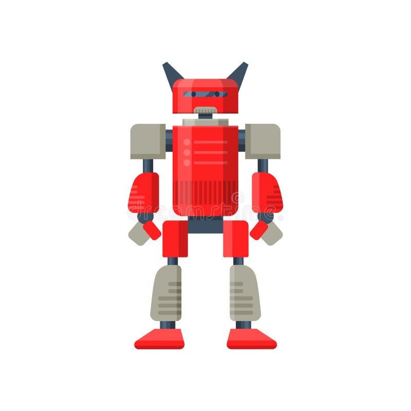 Płaski wektor czerwony robota transformator Futurystyczny metalu android Stalowy wojownik sztuczna inteligencja ilustracji