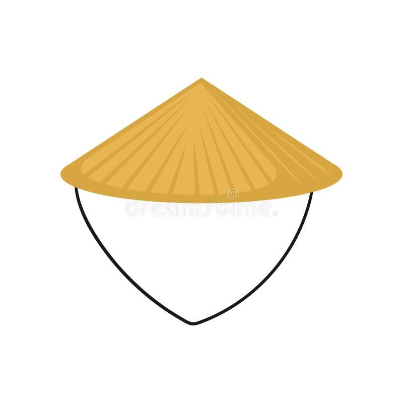 Płaski wektor klasyczny Azjatycki conical kapelusz robić słoma Tradycyjni Chińskie lub wietnamczyka pióropusz Średniorolny s head royalty ilustracja