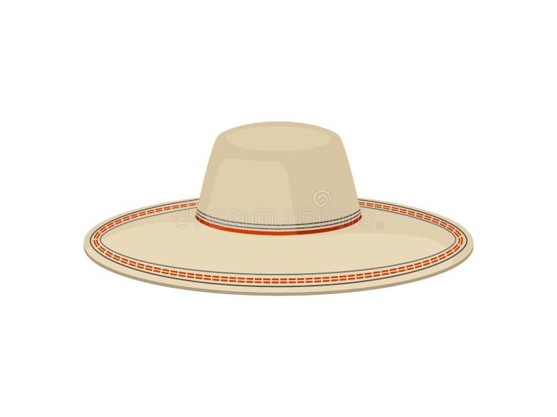 Płaski wektor tradycyjny Panamski kapelusz dla mężczyzn Sombrero vaquero Elegancki być wypełnionym czymś pióropusz Moda temat royalty ilustracja