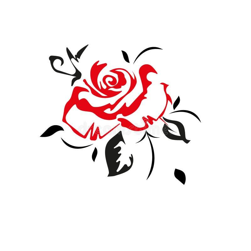 Płaski wektorowy piękny czerń, czerwień, biel liście i róża, i ilustracja wektor