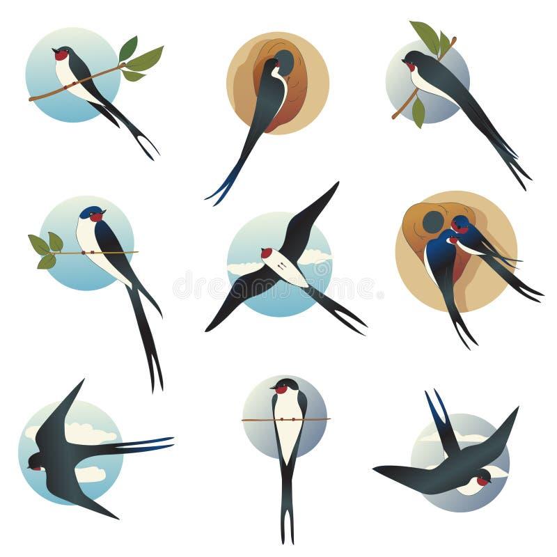 Płaski wektorowy ustawiający martlets lub stajni dymówki z okręgiem kształtujemy tło Dziki ptak z długim rosochatym ogonem ilustracji
