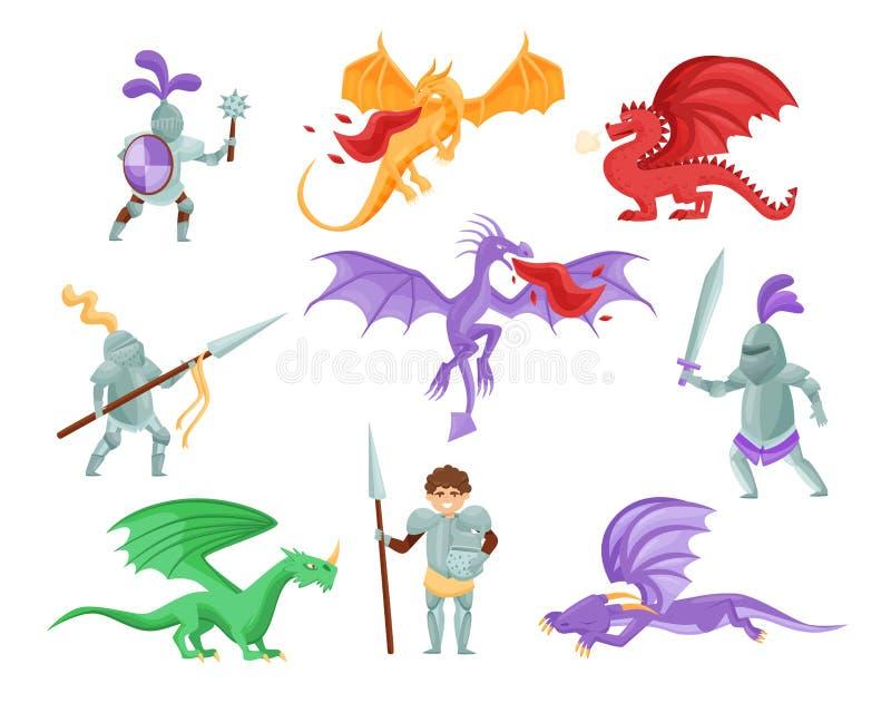 Płaski wektorowy ustawiający smoki i średniowieczni rycerze Wojownicy w żelaznym opancerzeniu Mityczni potwory z wielkimi skrzydł ilustracja wektor