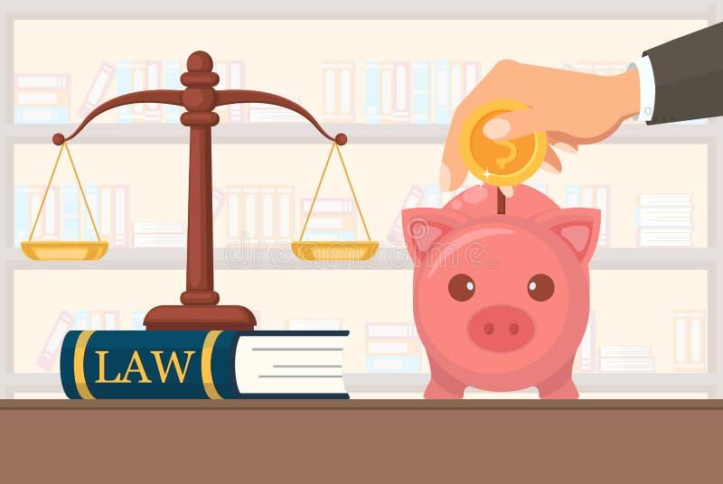 Płaskie Wektorowe Ilustracyjne Płatnicze usługi prawne royalty ilustracja
