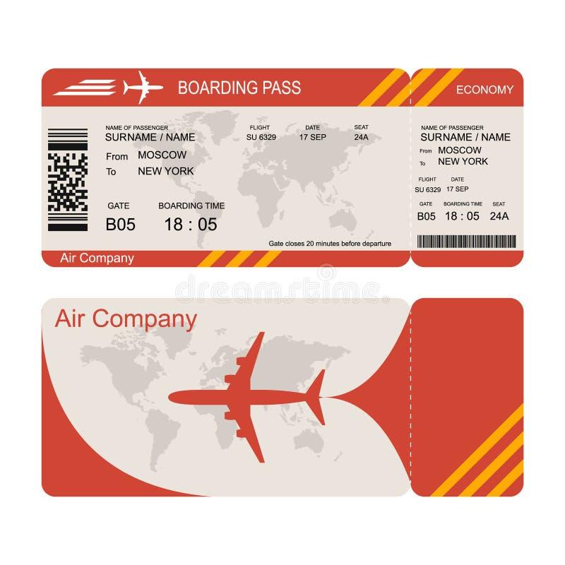 Płaskiego bileta szablon Lotniczy gospodarka lot royalty ilustracja