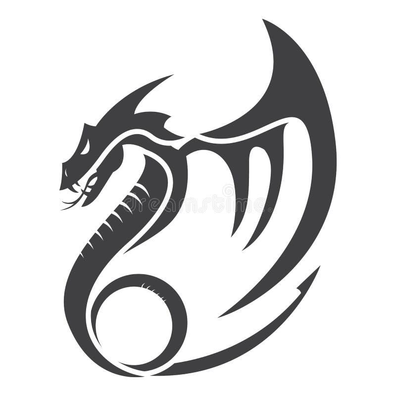 Płaskiego prostego smoka ilustracji logo wektorowi projekty royalty ilustracja