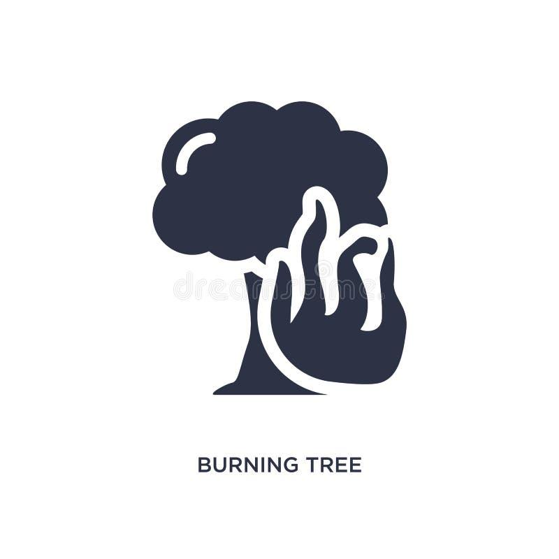 płonąca drzewna ikona na białym tle Prosta element ilustracja od meteorologii pojęcia ilustracji
