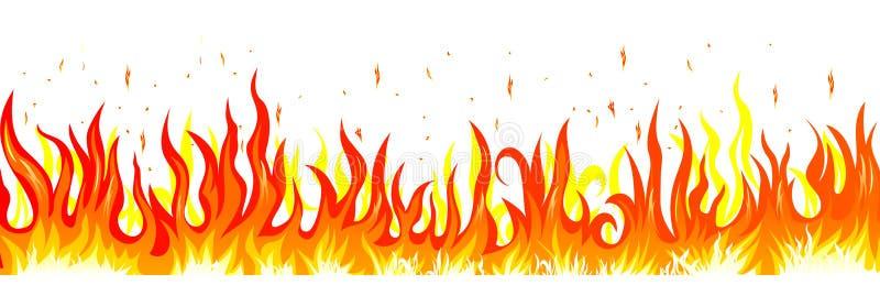 płonący ogień Płomień na białym tle ilustracja wektor