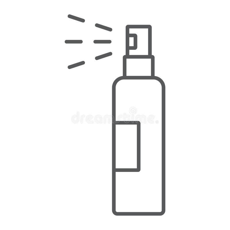 Płukanki kiści cienka kreskowa ikona, fryzjerstwo i natryskownica, butelki kiści znak, wektorowe grafika, liniowy wzór na bielu ilustracja wektor