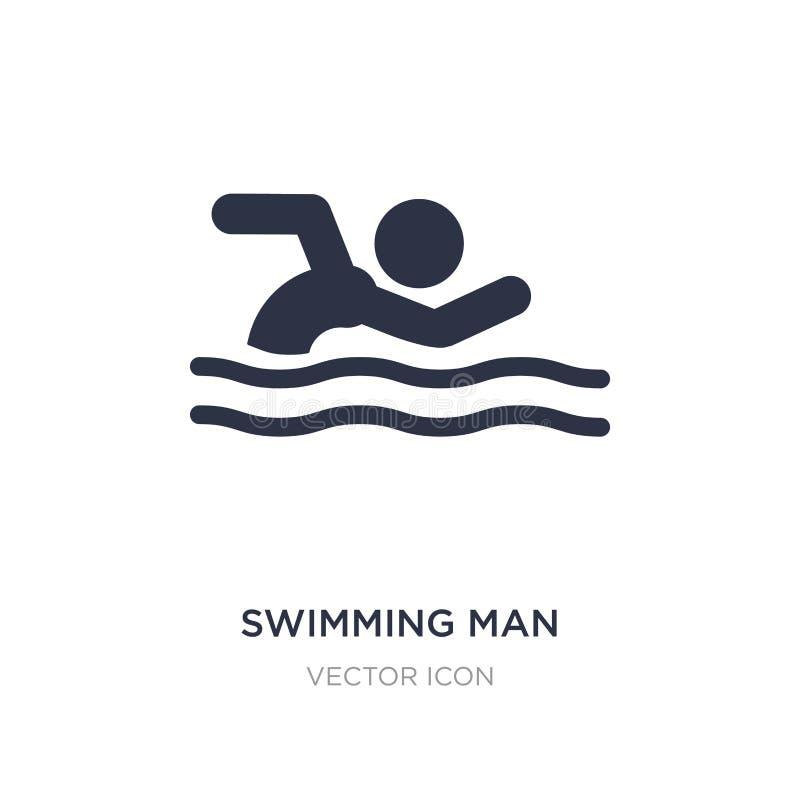 pływacka mężczyzna ikona na białym tle Prosta element ilustracja od sporta pojęcia royalty ilustracja