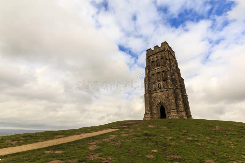På överkanten av den Glastonbury toren arkivfoton