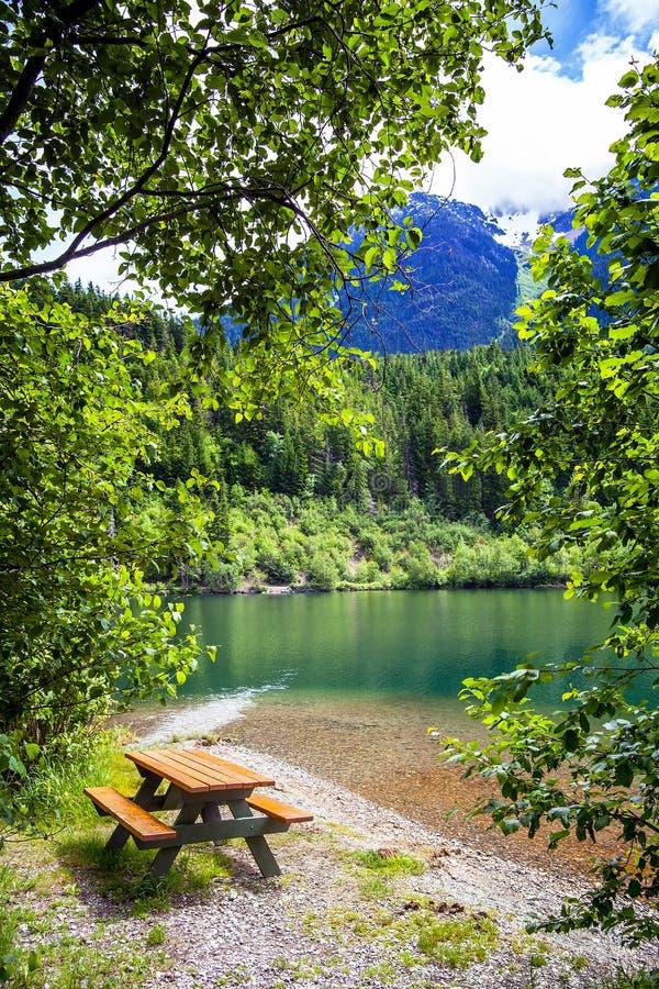 På Birkenhead sjön nära Pemberton British Columbia royaltyfri foto
