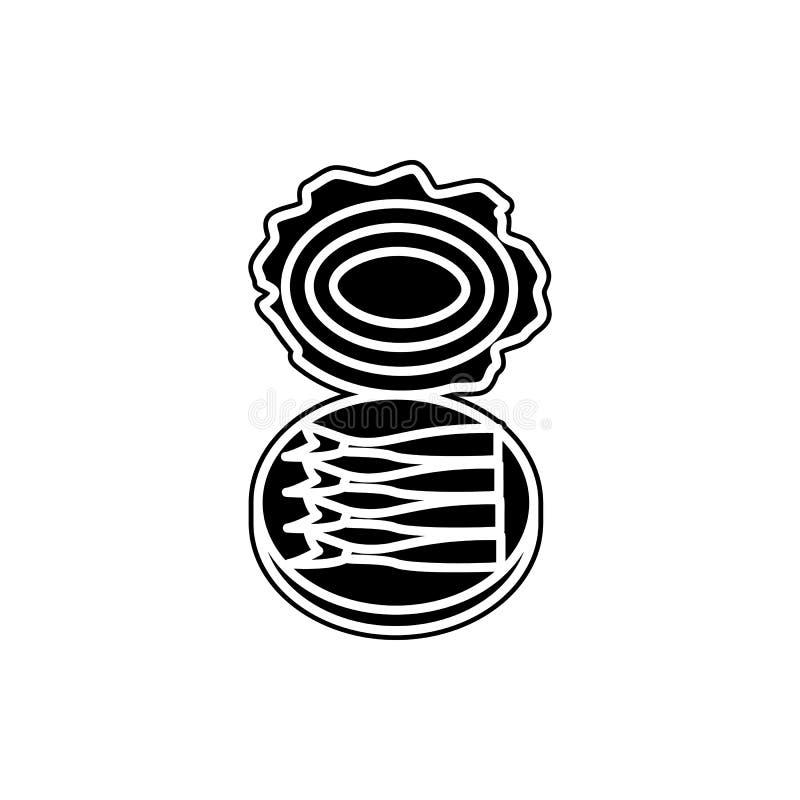 På burk fisksymbol Beståndsdel av fiskproduktion för mobilt begrepp och rengöringsdukappssymbol Skåra plan symbol för websitedesi vektor illustrationer
