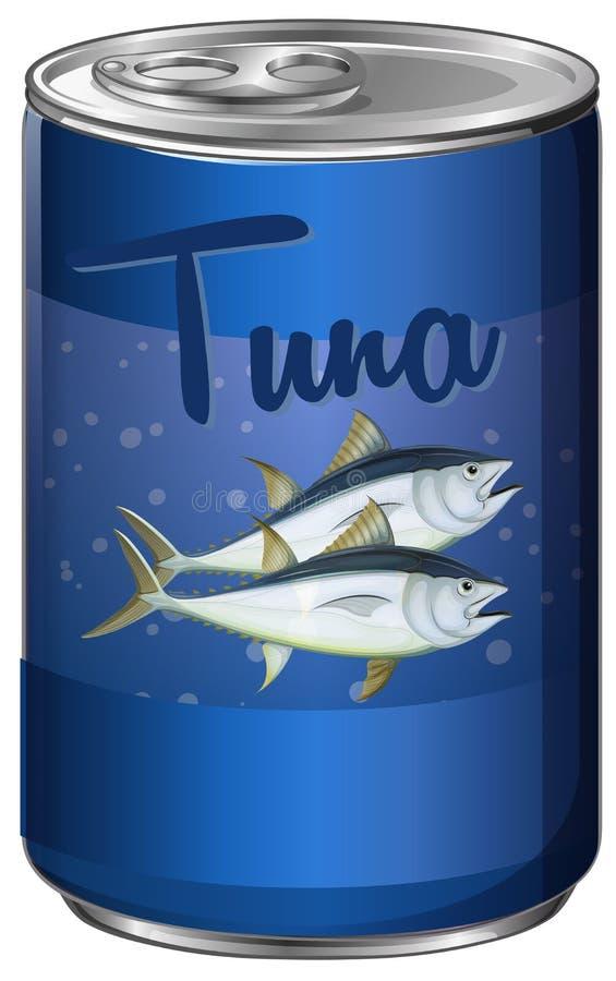 På burk mat med tonfisk inom royaltyfri illustrationer