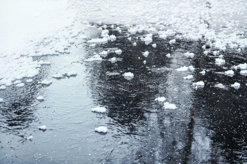 Is på det djupfrysta dammet med små lappar av snökristaller, trädreflexion på yttersida royaltyfri fotografi