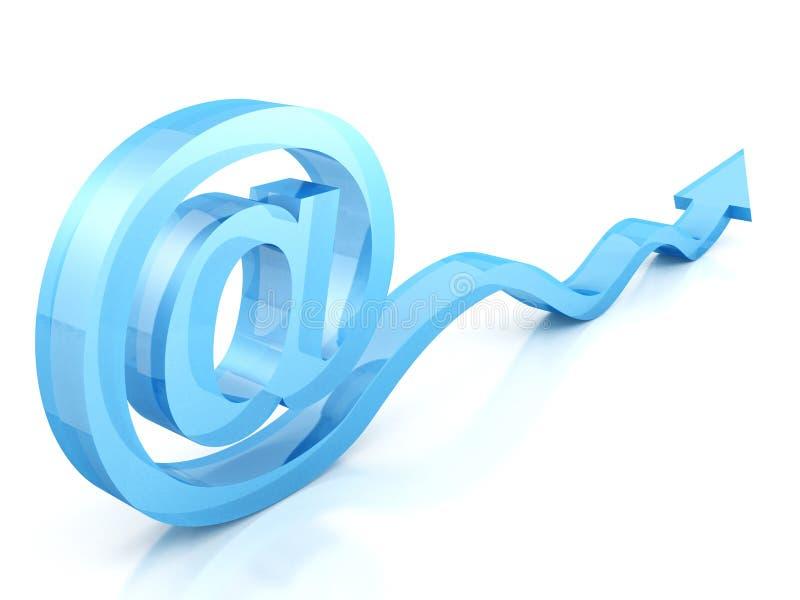 På det glass symbolet för e-post med blåttpilen stock illustrationer