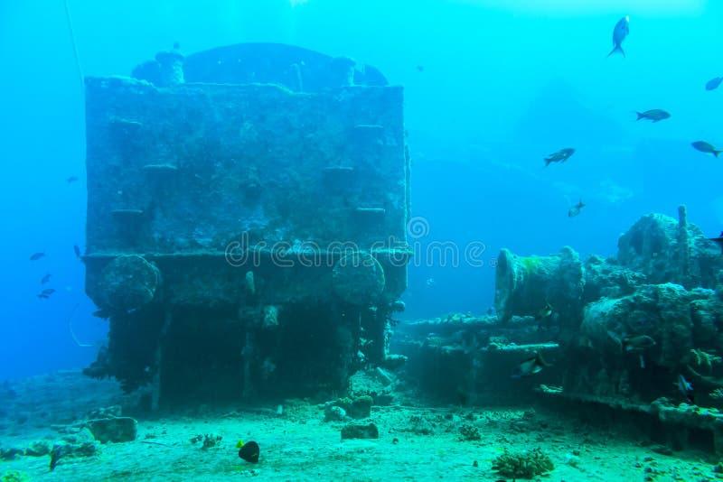 På det sjunkna skeppet Thistlegorm arkivbilder