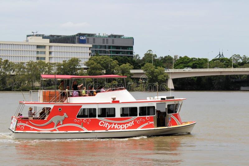 På en fartygtur i Brisbane Australien arkivbild