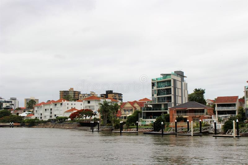 På en fartygtur i Brisbane Australien arkivfoton